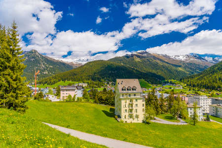 Houses in town village in Alps mountains, Davos,  Graubuenden, Switzerland Imagens