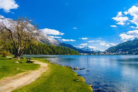 Crystal blue Lake St. Moritz, Sankt Moritz, Maloja Grisons Switzerland