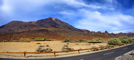 Sand Desert with blue sky, Panorama on Teide volcano, Tenerife, Canarian Islands
