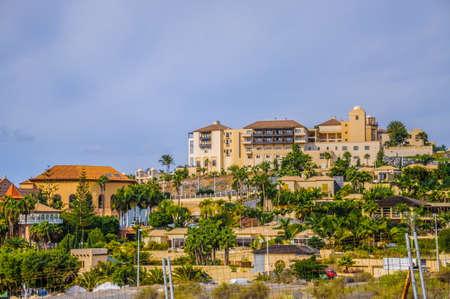 Popular canarian resort Playa de Las Americas in Tenerife, Canary Islands.