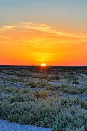 Beautiful sunset on salt lake Chott el Djerid, Sahara desert, Tunisia, Africa, HDR Stok Fotoğraf