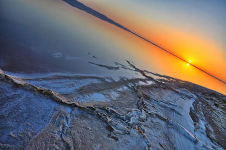 Beautiful sunrise on salt lake Chott el Djerid, Sahara desert, Tunisia, Africa, HDR