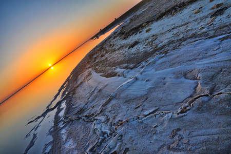 Beautiful sunrise on salt lake Chott el Djerid, Sahara desert, Tunisia, Africa, HDR