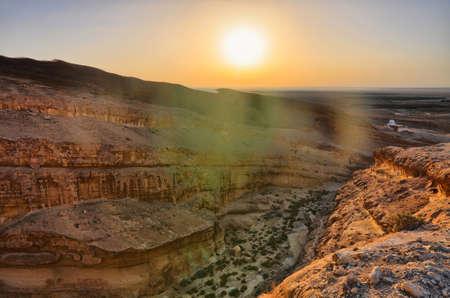 Sunrise above Tamerza canyon or Star Wars canyon, Sahara desert, Tunisia, Africa, HDR