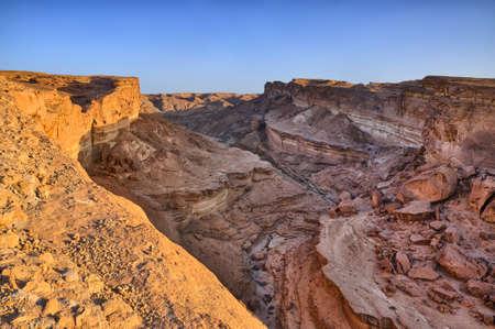 Tamerza canyon or Star Wars canyon, Sahara desert, Tunisia, Africa, HDR Stok Fotoğraf