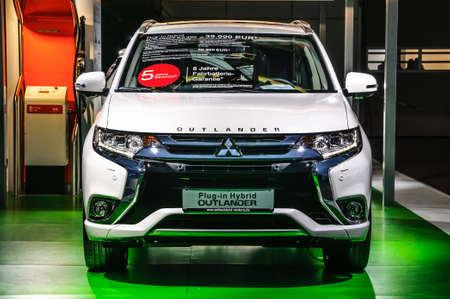 FRANKFURT - SEPT 2015: Mitsubishi Outlander plug-in Hybrid presented at IAA International Motor Show on September 20, 2015 in Frankfurt, Germany