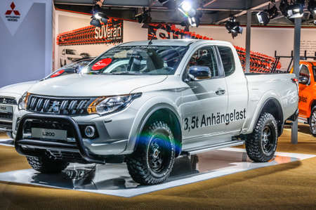 FRANKFURT - SEPT 2015: Mitsubishi L200 presented at IAA International Motor Show on September 20, 2015 in Frankfurt, Germany Stok Fotoğraf - 128619885