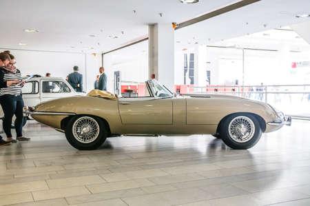 FRANKFURT - SEPT 2015: Jaguar E-Type cabrio 1963 presented at IAA International Motor Show on September 20, 2015 in Frankfurt, Germany Stok Fotoğraf - 128619892
