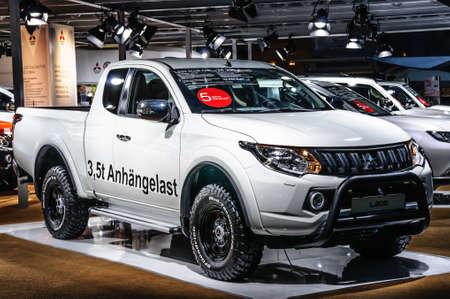 FRANKFURT - SEPT 2015: Mitsubishi L200 presented at IAA International Motor Show on September 20, 2015 in Frankfurt, Germany Stok Fotoğraf - 128619895