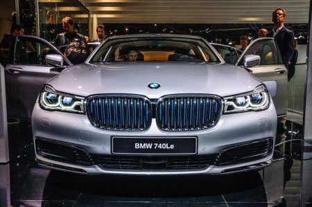 FRANKFURT - SEPT 2015: BMW 740Le presented at IAA International Motor Show on September 20, 2015 in Frankfurt, Germany