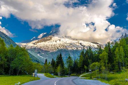 Asphalt road amoung pine forest in mountains, Chamonix Mont Blanc, Haute-Savoie, Auvergne-Rhoene-Alpes, France
