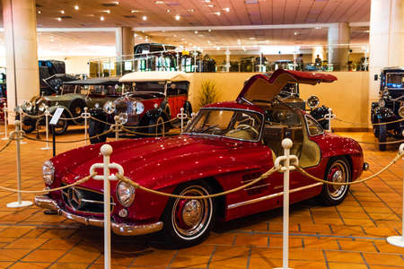 FONTVIEILLE, MONACO - JUN 2017: red MERCEDES 300SL ROADSTER 1960 in Monaco Top Cars Collection Museum. Editorial