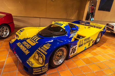 FONTVIEILLE, MONACO - JUN 2017: yellow blue BARNI ROBERTO 1939 in Monaco Top Cars Collection Museum.