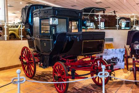 FONTVIEILLE, MONACO - JUN 2017: black Dormeuse Coupe de Poste Avant 1889 in Monaco Top Cars Collection Museum.