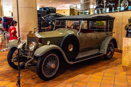 FONTVIEILLE, MONACO - JUN 2017: green ROLLS-ROYCE TWENTY 1927 in Monaco Top Cars Collection Museum.