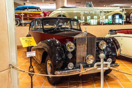 FONTVIEILLE, MONACO - JUN 2017: maroon ROLLS-ROYCE SALOON 1953 in Monaco Top Cars Collection Museum.