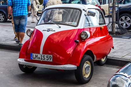 GERMANY, LIMBURG - APR 2017: Red white BMW ISSETTA 1955 in Limburg an der Lahn, Hesse, Germany. Editorial
