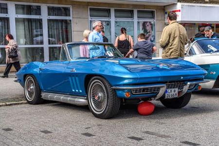 GERMANY, LIMBURG - APR 2017: blue CHEVROLET CORVETTE C2 CONVERTIBLE CABRIO 1962 in Limburg an der Lahn, Hesse, Germany. Editorial