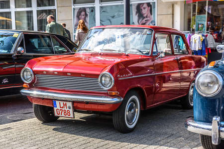GERMANY, LIMBURG - APR 2017: red OPEL KADETT A 1962 in Limburg an der Lahn, Hesse, Germany.