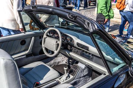 GERMANY, LIMBURG - APR 2017: blue PORSCHE 911 COUPE 1983 in Limburg an der Lahn, Hesse, Germany.