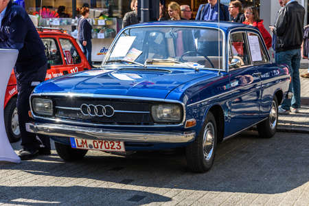 GERMANY, LIMBURG - APR 2017: blue AUDI F103 1965 in Limburg an der Lahn, Hesse, Germany. Redakční