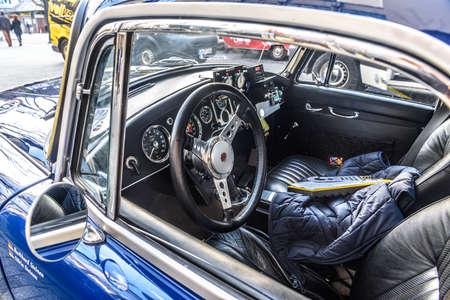 GERMANY, LIMBURG - APR 2017: blue MG MGA 1955 SPORTS CAR in Limburg an der Lahn, Hesse, Germany.