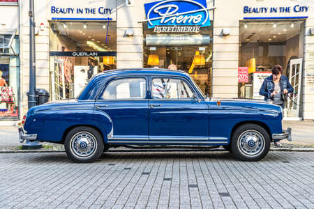 GERMANY, LIMBURG - APR 2017: blue MERCEDES-BENZ W120 W121 180 1953 in Limburg an der Lahn, Hesse, Germany.