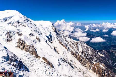 Snowy mountains in Chamonix, Mont Blanc, Haute-Savoie, Alps France