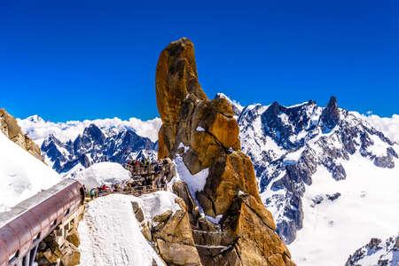 Aiguille du Midi observation station in Chamonix, Mont Blanc, Haute-Savoie, Alps, France