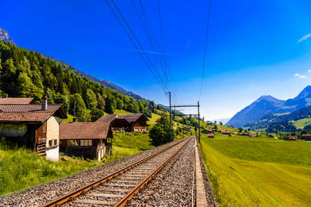 Railroad in the village Darstetten in Frutigen-Niedersimmental, Bern, Switzerland