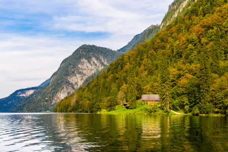 Wooden old fish house on the lake Koenigssee in Konigsee, Berchtesgaden National Park, Bavaria, Germany.