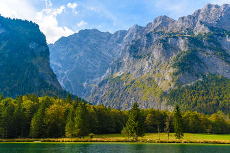 Koenigssee lake with Alp mountains in Konigsee, Berchtesgaden National Park, Bavaria, Germany. Banco de Imagens