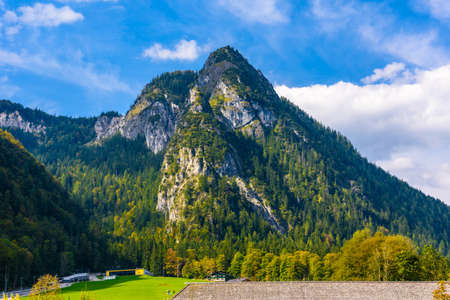 Alps mountains covered with forest, Schoenau am Koenigssee, Konigsee, Berchtesgaden National Park, Bavaria, Germany