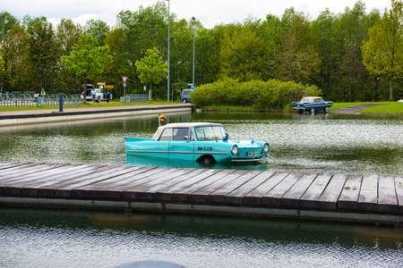 FRIEDRICHSHAFEN - MAY 2019: azure AMPHICAR 770 cabrio at Motorworld Classics Bodensee on May 11, 2019 in Friedrichshafen, Germany.