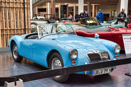 FRIEDRICHSHAFEN - MAY 2019: blue MG MGA 1962 cabrio roadster at Motorworld Classics Bodensee on May 11, 2019 in Friedrichshafen, Germany. Editorial