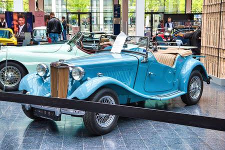 FRIEDRICHSHAFEN - MAY 2019: blue MG TD 1951 cabrio roadster at Motorworld Classics Bodensee on May 11, 2019 in Friedrichshafen, Germany. Editorial