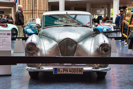 FRIEDRICHSHAFEN - MAY 2019: silver HEALEY TICKFORD SPORTS SALOON 1954 coupe at Motorworld Classics Bodensee on May 11, 2019 in Friedrichshafen, Germany.