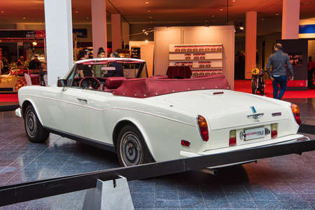 FRIEDRICHSHAFEN - MAY 2019: white ROLLS-ROYCE CORNICHE 1986 cabrio at Motorworld Classics Bodensee on May 11, 2019 in Friedrichshafen, Germany.