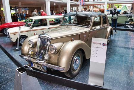 FRIEDRICHSHAFEN - MAY 2019: beige RILEY RMA 1950 coupe at Motorworld Classics Bodensee on May 11, 2019 in Friedrichshafen, Germany.