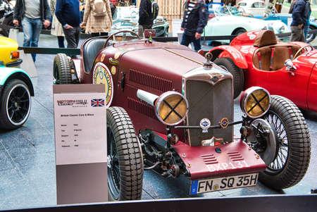 FRIEDRICHSHAFEN - MAY 2019: dark red RILEY 9 SPECIAL 1935 at Motorworld Classics Bodensee on May 11, 2019 in Friedrichshafen, Germany.