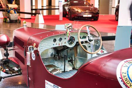 FRIEDRICHSHAFEN - MAY 2019: interior of dark red RILEY 9 SPECIAL 1935 at Motorworld Classics Bodensee on May 11, 2019 in Friedrichshafen, Germany.