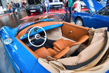 FRIEDRICHSHAFEN - MAY 2019: orange interior of blue PORSCHE 356 1948 cabrio at Motorworld Classics Bodensee on May 11, 2019 in Friedrichshafen, Germany.