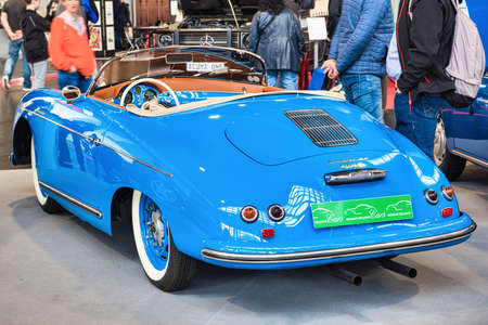 FRIEDRICHSHAFEN - MAY 2019: rear view blue PORSCHE 356 1948 cabrio at Motorworld Classics Bodensee on May 11, 2019 in Friedrichshafen, Germany. Editorial