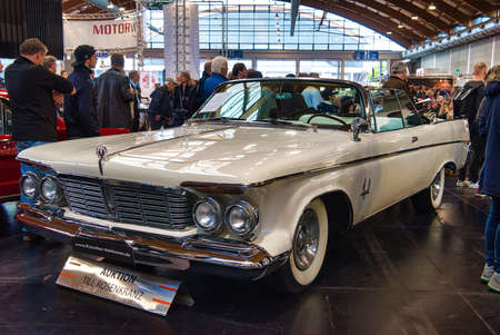 FRIEDRICHSHAFEN - MAY 2019: white CHRYSLER IMPERIAL CROWN 1963 cabrio at Motorworld Classics Bodensee on May 11, 2019 in Friedrichshafen, Germany. Redakční