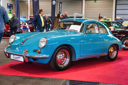 FRIEDRICHSHAFEN - MAY 2019: blue azure PORSCHE 356 SUPER 90 1948 coupe at Motorworld Classics Bodensee on May 11, 2019 in Friedrichshafen, Germany.