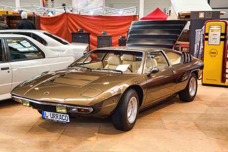 FRIEDRICHSHAFEN - MAY 2019: sand golden LAMBORGHINI URACCO 1973 coupe at Motorworld Classics Bodensee on May 11, 2019 in Friedrichshafen, Germany.