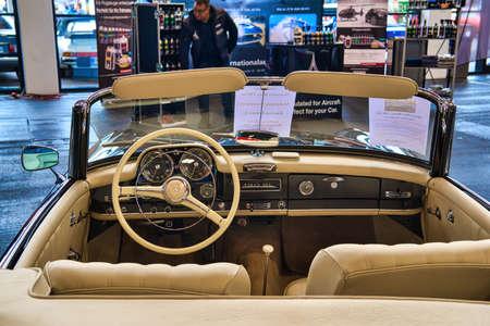 FRIEDRICHSHAFEN - MAY 2019: beige interior of MERCEDES-BENZ 190 SL 1961 cabrio roadster at Motorworld Classics Bodensee on May 11, 2019 in Friedrichshafen, Germany.