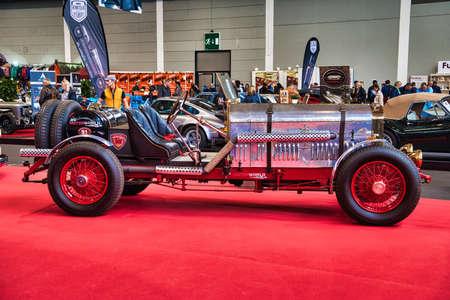 FRIEDRICHSHAFEN - MAY 2019: blue ROLLS-ROYCE SATIS 1930 cabrio roadster at Motorworld Classics Bodensee on May 11, 2019 in Friedrichshafen, Germany.