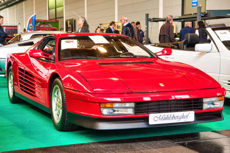FRIEDRICHSHAFEN - MAY 2019: red FERRARI TESTAROSSA F110 1989 coupe at Motorworld Classics Bodensee on May 11, 2019 in Friedrichshafen, Germany. Editorial