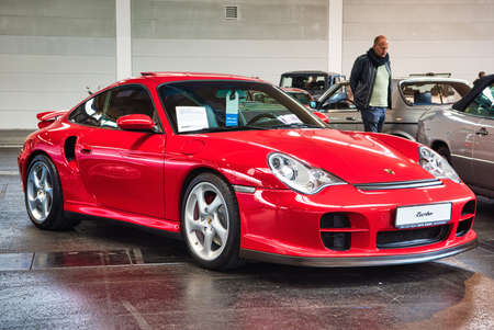 FRIEDRICHSHAFEN - MAY 2019: red PORSCHE 911 996 TURBO coupe 2000 at Motorworld Classics Bodensee on May 11, 2019 in Friedrichshafen, Germany.
